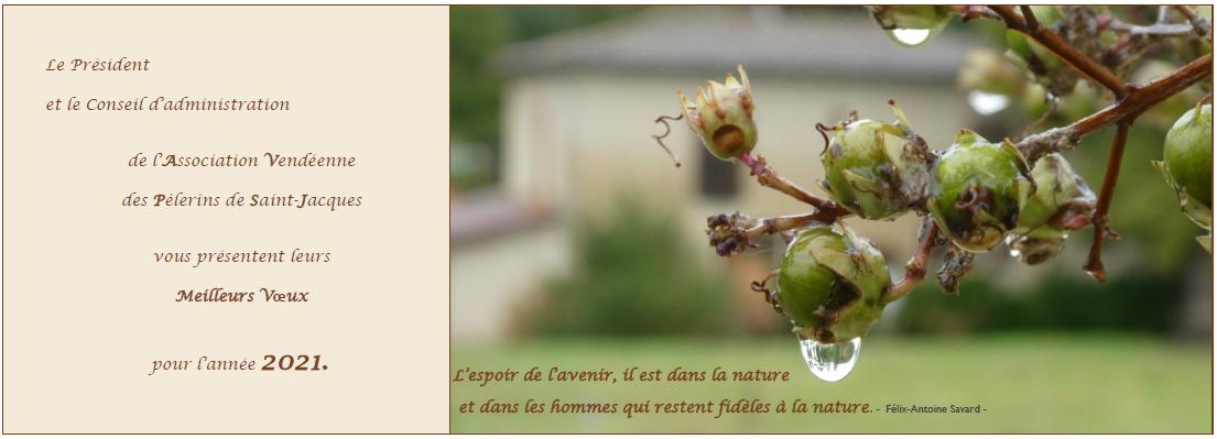 Meilleurs Voeux pour l'année 2021 de l'Association Vendéenne des Pèlerins de Saint-Jacques.